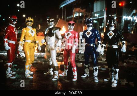 CARDENAS,ASHLEY,FRANK,JOHNSON,YOST,BOSCH, MIGHTY MORPHIN POWER RANGERS: THE MOVIE, 1995 - Stock Photo