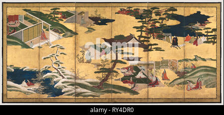 Scenes from the Tale of Genji, late 1700s. Tosa School (Japanese). Pair of six-fold screens; ink and color on gilded paper; image: 154.5 x 351.2 cm (60 13/16 x 138 1/4 in - Stock Photo