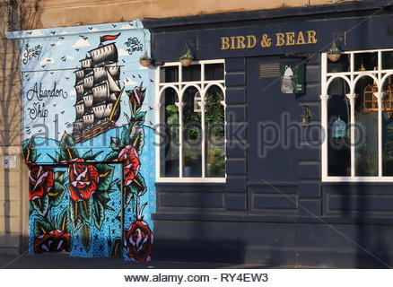 Exterior of Abandon Ship bar mural painted by Steen Jones on Dock Street Dundee Scotland  March 2019 - Stock Photo