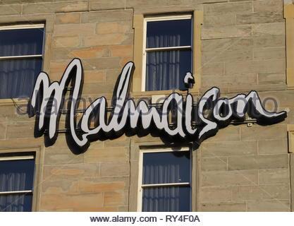 Sign of Malmaison Hotel Dundee Scotland  March 2019 - Stock Photo