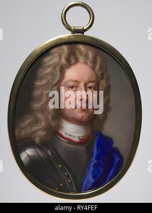 Portrait of John Churchill, 1st Duke of Marlborough, 1715. Christian Friedrich Zincke (German, 1683/85-1767). Enamel on copper in a gilt metal frame; framed: 6.4 x 5.1 cm (2 1/2 x 2 in.); sight: 5.9 x 4.8 cm (2 5/16 x 1 7/8 in - Stock Photo