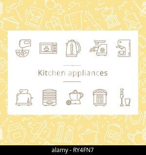 Set of kitchen appliances icons in line style isolated on the white background. - Stock Photo