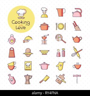Set of pixel-perfect colorful kitchen icons, isolated on the white background. - Stock Photo
