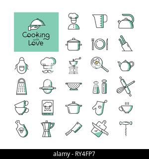 Set of pixel-perfect two colors kitchen icons in the line style isolated on the white background. - Stock Photo