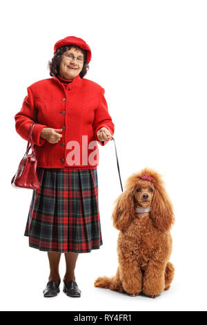 Full length portrait of a senior woman standing with a red poodle dog isolated on white background - Stock Photo