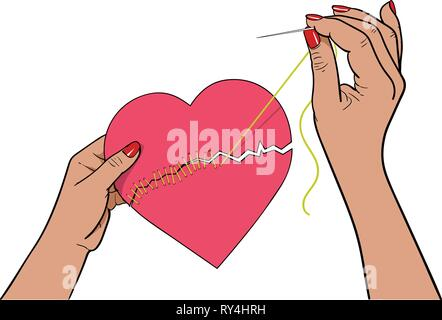 Stitching up the torn heart with needle and thread - Stock Photo