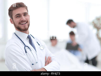 responsible doctor on the background of the chamber - Stock Photo