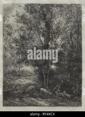 The Shepherd and the Shepherdess, 1874. Charles François Daubigny (French, 1817-1878). Etching; sheet: 32.8 x 24.8 cm (12 15/16 x 9 3/4 in.); platemark: 28.9 x 21.5 cm (11 3/8 x 8 7/16 in - Stock Photo