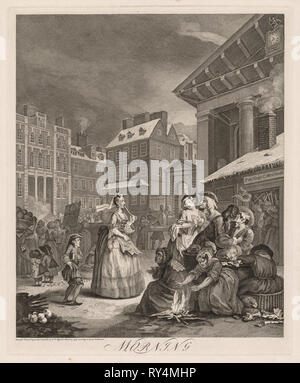 The Four Times of Day, 1738. William Hogarth (British, 1697-1764). Engraving - Stock Photo