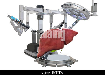 Robotic surgery of the liver concept, 3D rendering isolated on white background - Stock Photo