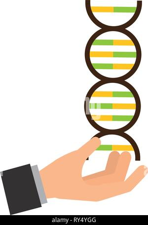 hand with molecule dna science - Stock Photo