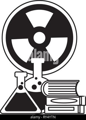 flasks books radiation sign - Stock Photo