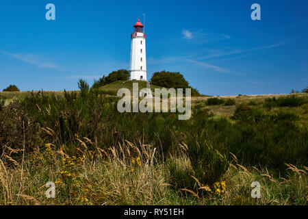 postcard lighthouse on isle of Hiddensee in summer - Stock Photo
