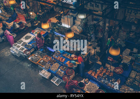view form above on sales women at Noryangjin Fisheries Wholesale Market in Seoul, september 2015 - Stock Photo