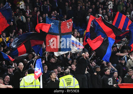 LONDON, ENGLAND - FEBRUARY 27, 2019: Palace ultras pictured during the 2018/19 Premier League game between Crystal Palace FC and Manchester United at Selhurst Park. - Stock Photo