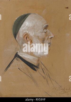 Karl Eduard von Liphart, c. 1875. Franz von Lenbach (German, 1836-1904). Paint over graphite(?); sheet: 54.3 x 40.7 cm (21 3/8 x 16 in.); secondary support: 54.3 x 40.7 cm (21 3/8 x 16 in - Stock Photo