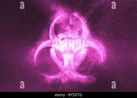 Biohazard symbol. Biohazard sign. Abstract night sky background - Stock Photo