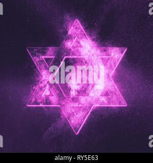 Magen David symbol, Star of David. Abstract night sky background. - Stock Photo