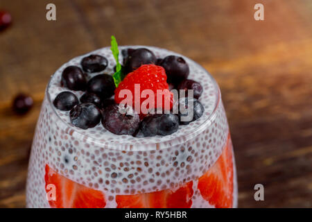 Strawberry with fresh berry fruits jam with chia seeds - Stock Photo
