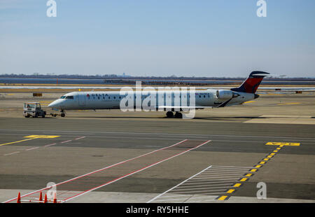 FEB 14, 2019 JFK NEW YORK, USA: DELTA aircraft at the John F. Kennedy International Airport. It is the international air passenger gateway in the - Stock Photo