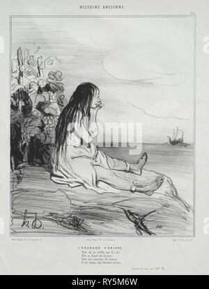 published in le Charivari (no 4 du septembre 1842): Ancient History, plate 24: The Abandonment of Ariadne, 4 September 1842. Honoré Daumier (French, 1808-1879), Aubert. Lithograph; sheet: 34.2 x 26.7 cm (13 7/16 x 10 1/2 in.); image: 23.9 x 20 cm (9 7/16 x 7 7/8 in - Stock Photo