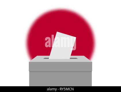 Japan election banner background. Ballot Box with blurred flag - Stock Photo