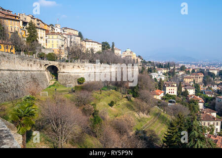 Travel to Italy - street viale delle Mura over Sant Andrea platform of Venetian Walls between Lower Town (Citta Bassa) and Upper Town (Citta Alta) fro - Stock Photo