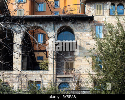 Travel to Italy - facade of apartment houses on street viale delle Mura in Bergamo city, Lombardy - Stock Photo