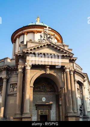 Travel to Italy - portal of church Chiesa Prepositurale di Santa Maria Immacolata delle Grazie (Barriera delle Grazie) on street Viale Papa Giovanni X - Stock Photo
