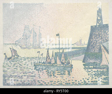 Evening, The Jetty at Vlissingen, 1898. Paul Signac (French, 1863-1935). Lithograph - Stock Photo