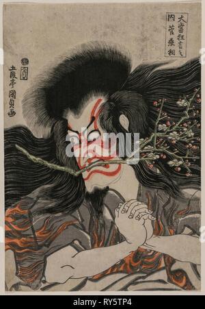 Ichikawa Danjuro VII as Kan Shojo in the Mt. Tenpai Scene (from the series Famous Kabuki Plays), 1814. Gototei Kunisada (Japanese, 1786-1864). Color woodblock print, with mica; overall: 38 x 25.9 cm (14 15/16 x 10 3/16 in - Stock Photo