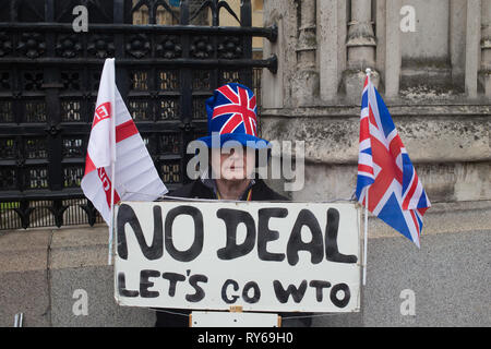 London, UK. 12th Mar 2019. A Pro-Brexit demonstrator protests ahead of meaningful vote in Parliament . Credit: Thabo Jaiyesimi/Alamy Live News - Stock Photo
