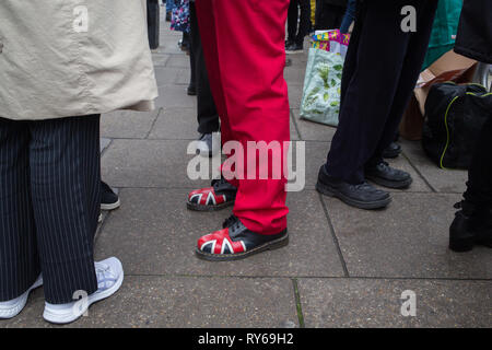London, UK. 12th Mar, 2019. Pro Brexit demonstrators protests ahead of the meaningful vote in Parliament. Credit: Thabo Jaiyesimi/Alamy Live News - Stock Photo