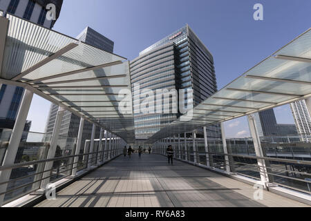 Yokohama, Japan. 12th Mar, 2019. A general view of Nissan Global Headquarters building in Yokohama. Renault CEO Thierry Bollore, Renault Chairman Jean-Dominique Senard, Nissan Motor President and CEO Hiroto Saikawa and Mitsubishi Motors Chairman and CEO Osamu Masuko attended a join news conference to announce a new start for the Alliance Operating Board for their partnership. Credit: Rodrigo Reyes Marin/ZUMA Wire/Alamy Live News - Stock Photo