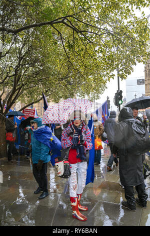 London, UK. 12th Mar, 2019. Singer Madeleina Kay outside The Houses of Parliament in London. Credit: AndKa/Alamy Live News - Stock Photo