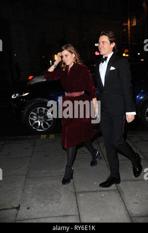 London, UK. 12th Mar, 2019. Princess Beatrice, seen arriving at the 2019 Portrait Gala, held at the National Portrait Gallery in London. Her Royal Highness will meet members of the Gallery's Youth Forum and view artwork produced by some of the National Portrait Gallery's outreach programmes. Credit: Terry Scott/SOPA Images/ZUMA Wire/Alamy Live News - Stock Photo