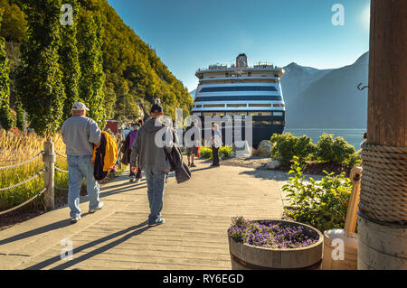 September 15, 2018 - Skagway, AK: Passengers returning on foot to cruise ships. - Stock Photo