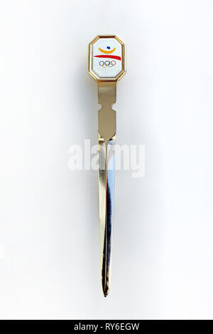Barcelona 92 Olympic Games letter opener souvenir, isolated on white background, close-up - Stock Photo