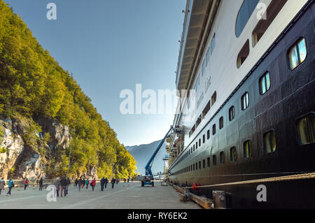 September 15, 2018 - Skagway, AK: Side view of The Volendam cruise ship hull. - Stock Photo