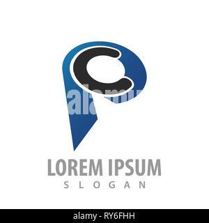 Initial letter CP PC logo concept design. Symbol graphic template element - Stock Photo