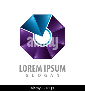 Shiny octagonal connect part logo concept design. Symbol graphic template element - Stock Photo