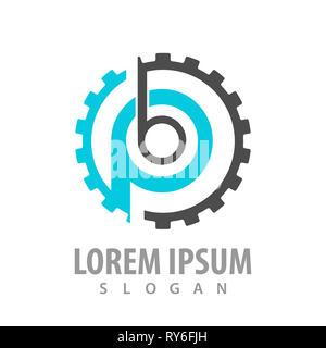 Initial letter PB BP with gear logo concept design. Black blue color symbol graphic template element - Stock Photo
