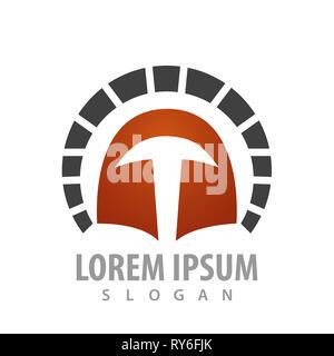 Rounded spartan helmet logo concept design. Symbol graphic template element - Stock Photo