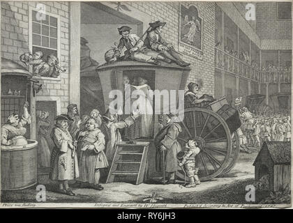 The Stage Coach, 1747. William Hogarth (British, 1697-1764). Etching and engraving; scabbard: 21.1 x 29.9 cm (8 5/16 x 11 3/4 in - Stock Photo