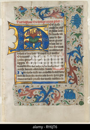 Leaf Excised from a Book of Hours: Decorated Initial H, c. 1470-1480. Related to Masters of the Zwolle Bible (Netherlandish). Ink, tempera, and gold on vellum; each leaf: 17.5 x 12.3 cm (6 7/8 x 4 13/16 in - Stock Photo