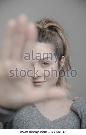 Portrait confident beautiful young blonde woman - Stock Photo