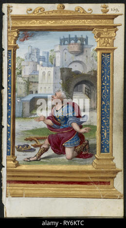 Leaf from a Book of Hours: King David in Prayer (2 of 3 Excised Leaves), c. 1530-35. Noël Bellemare (French, d. 1546), The 1520s Hours Workshop (French). Ink, tempera and liquid gold on vellum; each leaf: 11.2 x 6.4 cm (4 7/16 x 2 1/2 in - Stock Photo