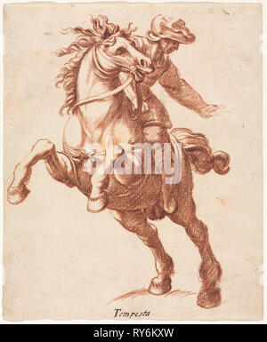 Rearing Horse and Rider, c. 1600?. Attributed to Antonio Tempesta (Italian, 1555-1630). Red chalk; sheet: 20.6 x 17.1 cm (8 1/8 x 6 3/4 in - Stock Photo