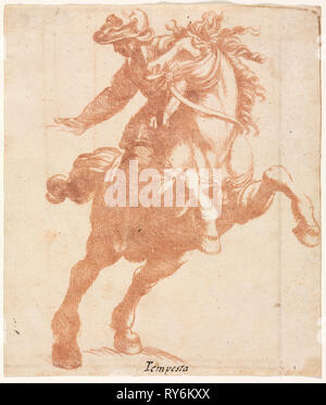Rearing Horse and Rider, c. 1600. Attributed to Antonio Tempesta (Italian, 1555-1630). Red chalk counterproof; sheet: 19.5 x 16.7 cm (7 11/16 x 6 9/16 in - Stock Photo