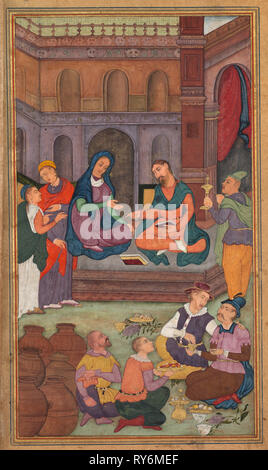 The Marriage at Cana, from a Mirror of Holiness (Mir'at al-quds) of Father Jerome Xavier, 1602-1604. Northern India, Uttar Pradesh, Allahabad, Mughal period. Opaque watercolor, ink, color and gold on paper; sheet: 26.3 x 15.7 cm (10 3/8 x 6 3/16 in.); image: 19.5 x 11.3 cm (7 11/16 x 4 7/16 in